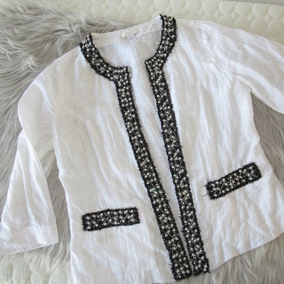 Chico's White Beaded Linen Jacket Size 0